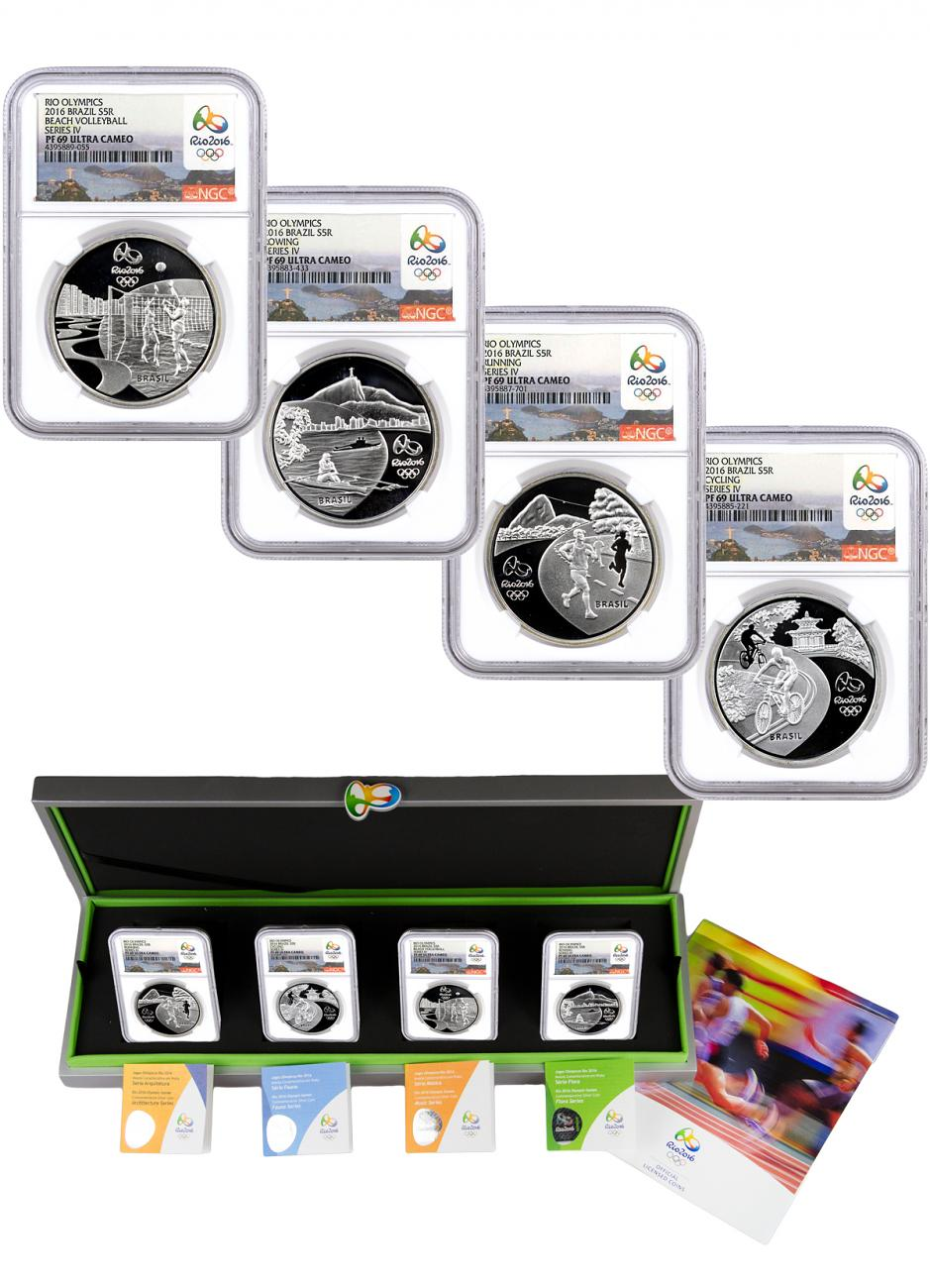 2014 Brazil 5 Reais Proof Silver Rio 2016 Olympics Series 4 - Set of 4 Coins - NGC PF69 UC (Rio 2016 Label)
