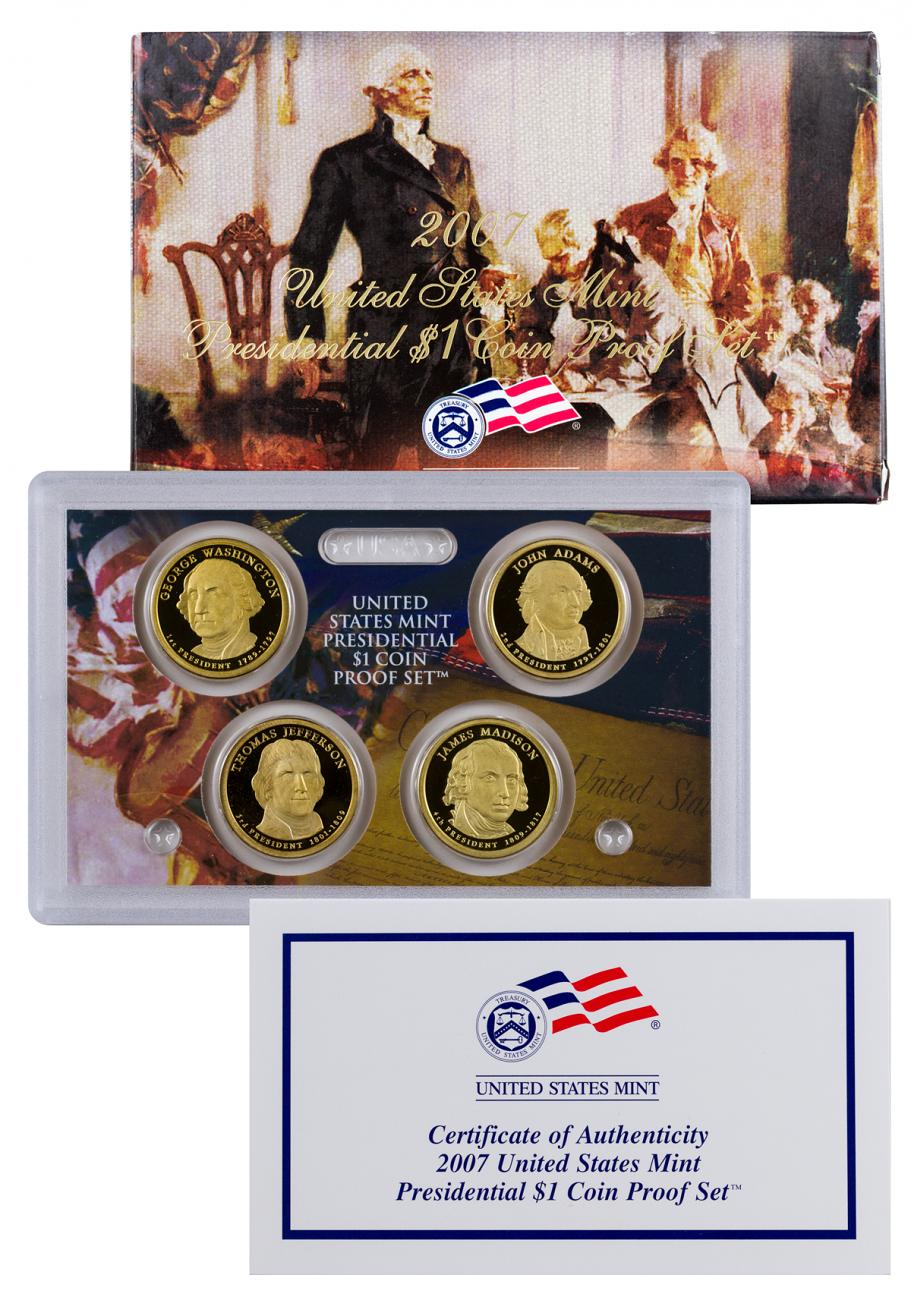 2007-S United States Proof Presidential Dollar Set - GEM Proof (Original Government Packaging)