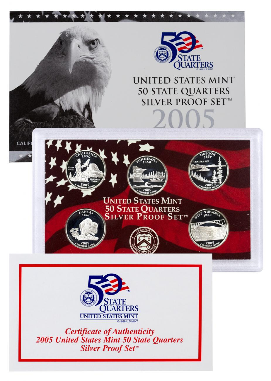 2005-S U.S. 50 State Quarter Silver Proof Set GEM Proof OGP