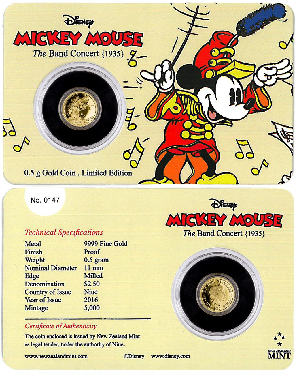 2016 Niue Mickey Through the Ages - Band Concert 1/2 g Gold Proof $2.5 GEM Proof