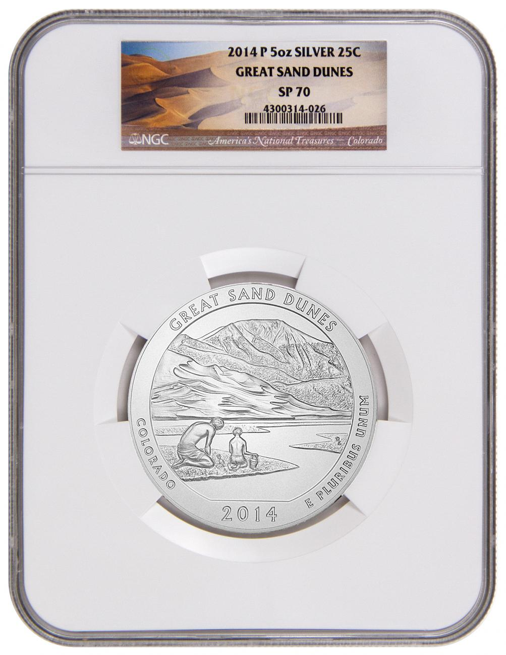 2014-P 25c 5 oz. Specimen Silver America the Beautiful - Great Sand Dunes - NGC SP70