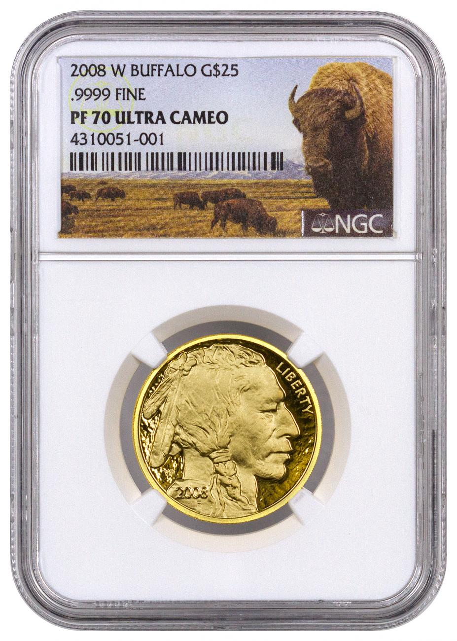 2008-W 1/2 oz Gold Buffalo Proof $25 NGC PF70 UC Buffalo Label