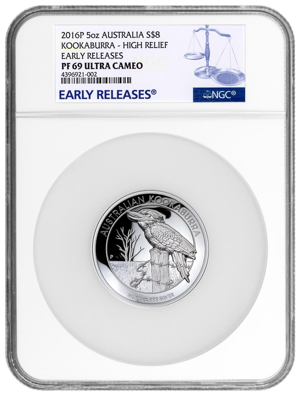 2016-P Australia 5 oz High Relief Silver Kookaburra Proof $8 NGC PF69 UC ER