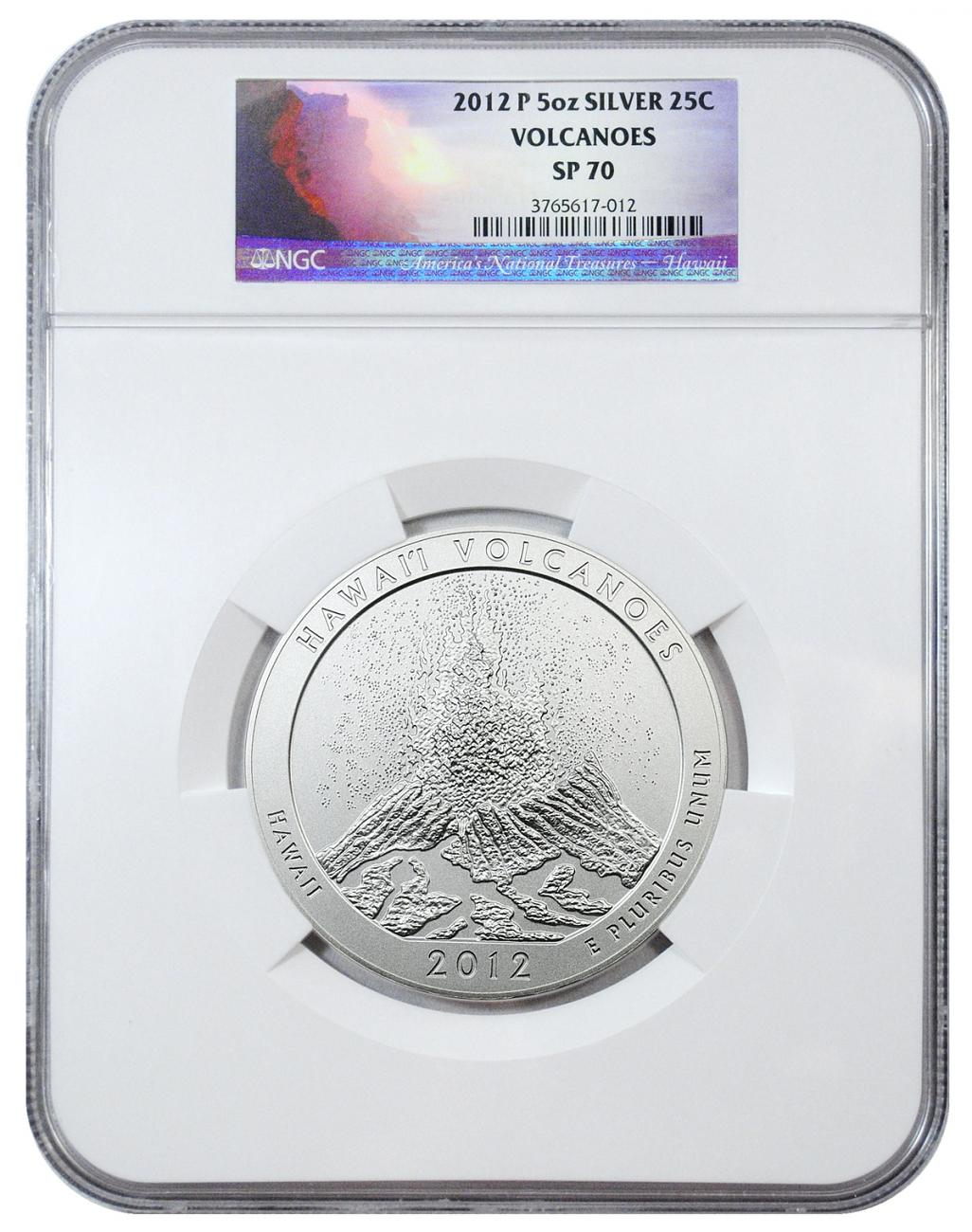 2012-P Hawaii Volcanoes 5 oz. Silver America the Beautiful Specimen Coin NGC SP70