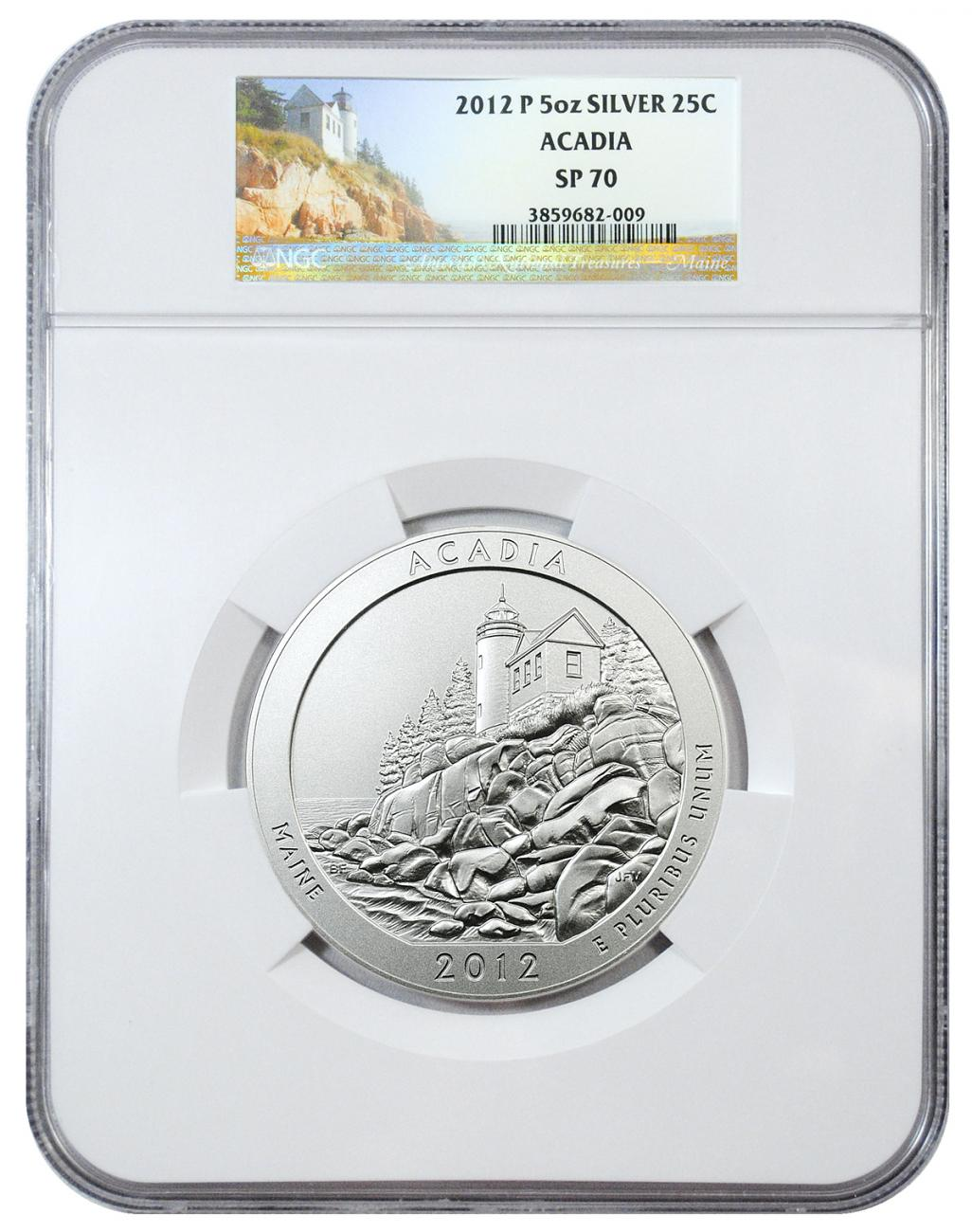 2012-P Acadia 5 oz. Silver America the Beautiful Specimen Coin NGC SP70