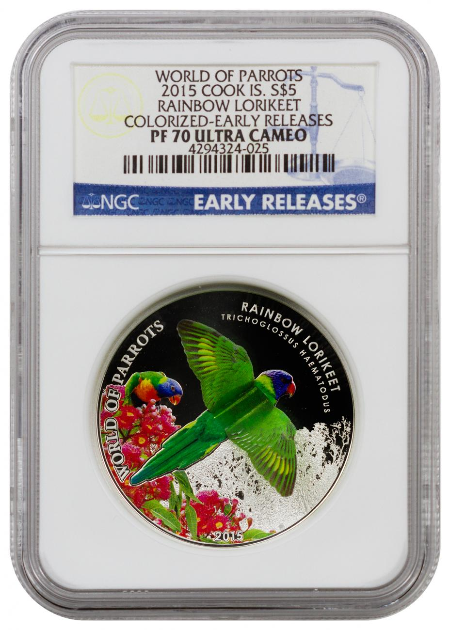 2015 Cook Islands $5 Colorized Proof Silver World of Parrots: Rainbow Lorikeet - NGC PF70 UC Early Releases