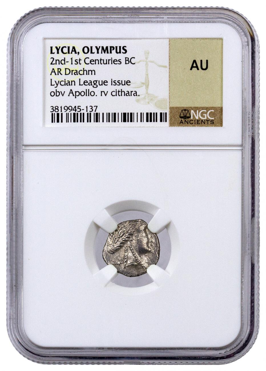 Lycia, Olympus Silver Drachm of the Lycian League (2nd-1st Centuries BC) - obv. Apollo/rv. Cithara NGC AU