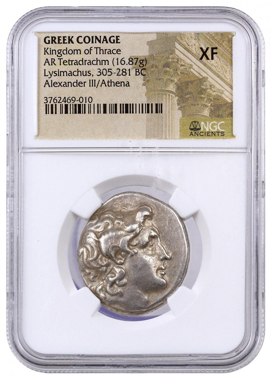 Greek Kingdom of Thrace, Silver Tetradrachm of Lysimachus (305-281 BC) - obv. Alexander the Great/rv. Athena NGC XF