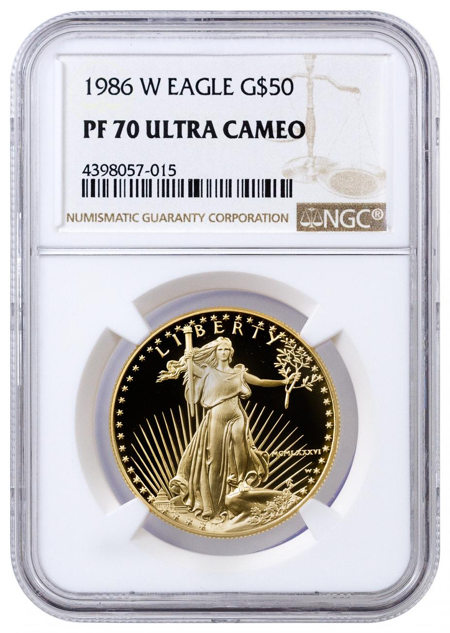 1986 W 1 Oz Gold American Eagle Proof 50 Ngc Pf70 Uc