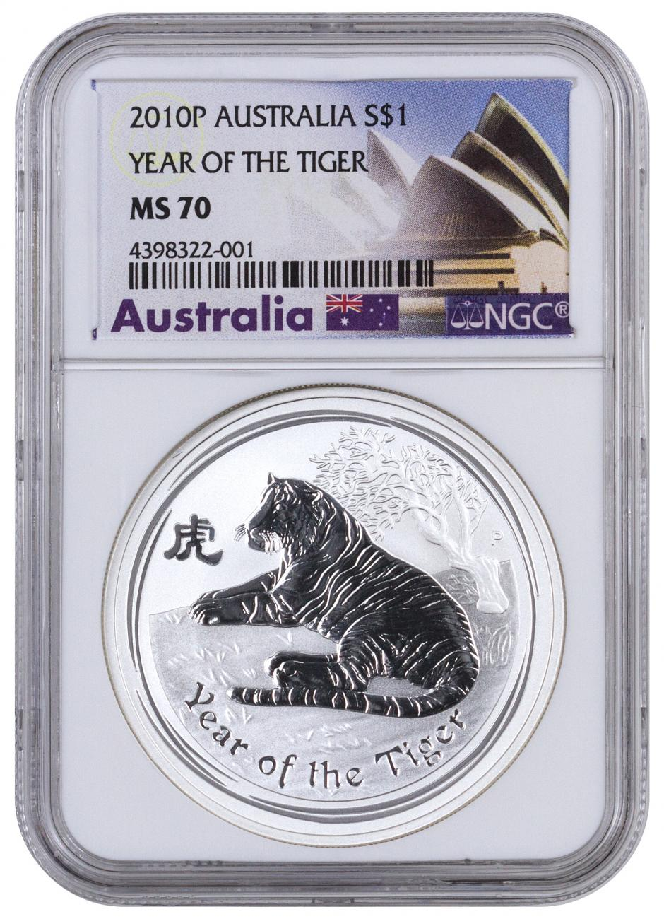 2010 Australia Year of the Tiger 1 oz Silver Lunar (Series 2) $1 Coin NGC MS70 Exclusive Australia Label