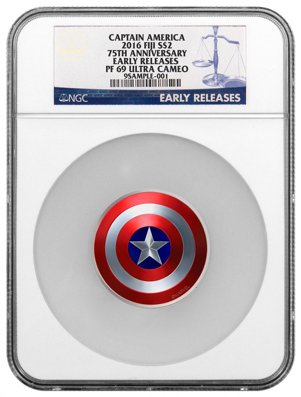 2016 Fiji Marvel Captain America Shield - 75th Anniversary Domed 2 oz Silver Colorized Proof $2 Coin NGC PF69 UC ER