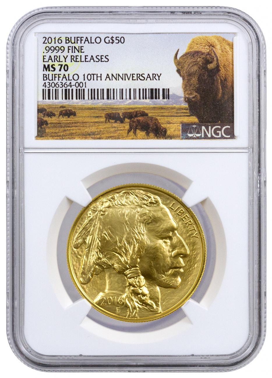 2016 1 oz Gold Buffalo $50 Coin NGC MS70 ER (Buffalo Label)