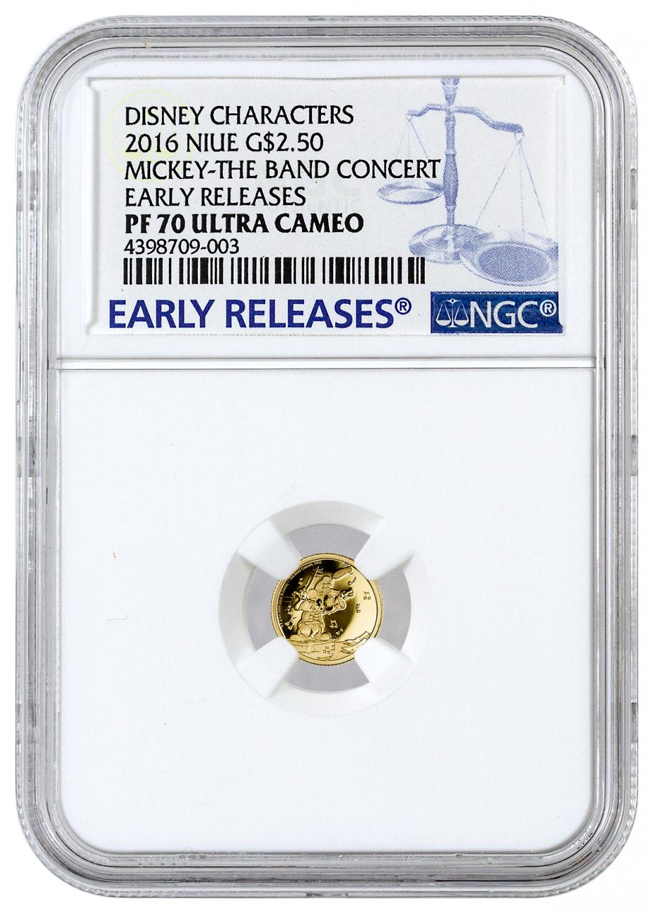 2016 Niue $2.5 0.5g Proof Gold Disney Mickey Band Concert - NGC PF70 UC Early Releases