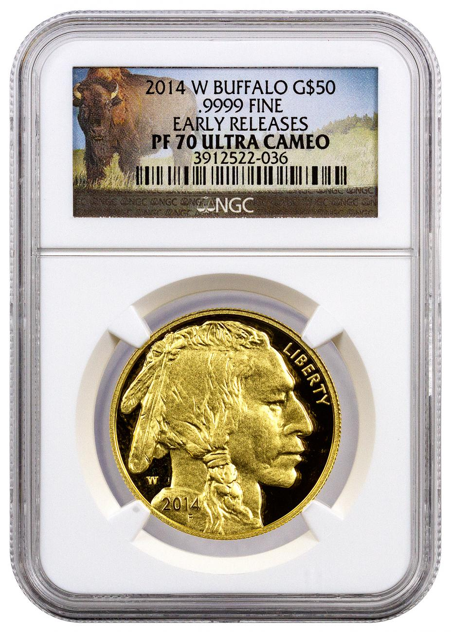 2014-W 1 oz Gold Buffalo Proof $50 NGC PF70 UC ER (Buffalo Label)