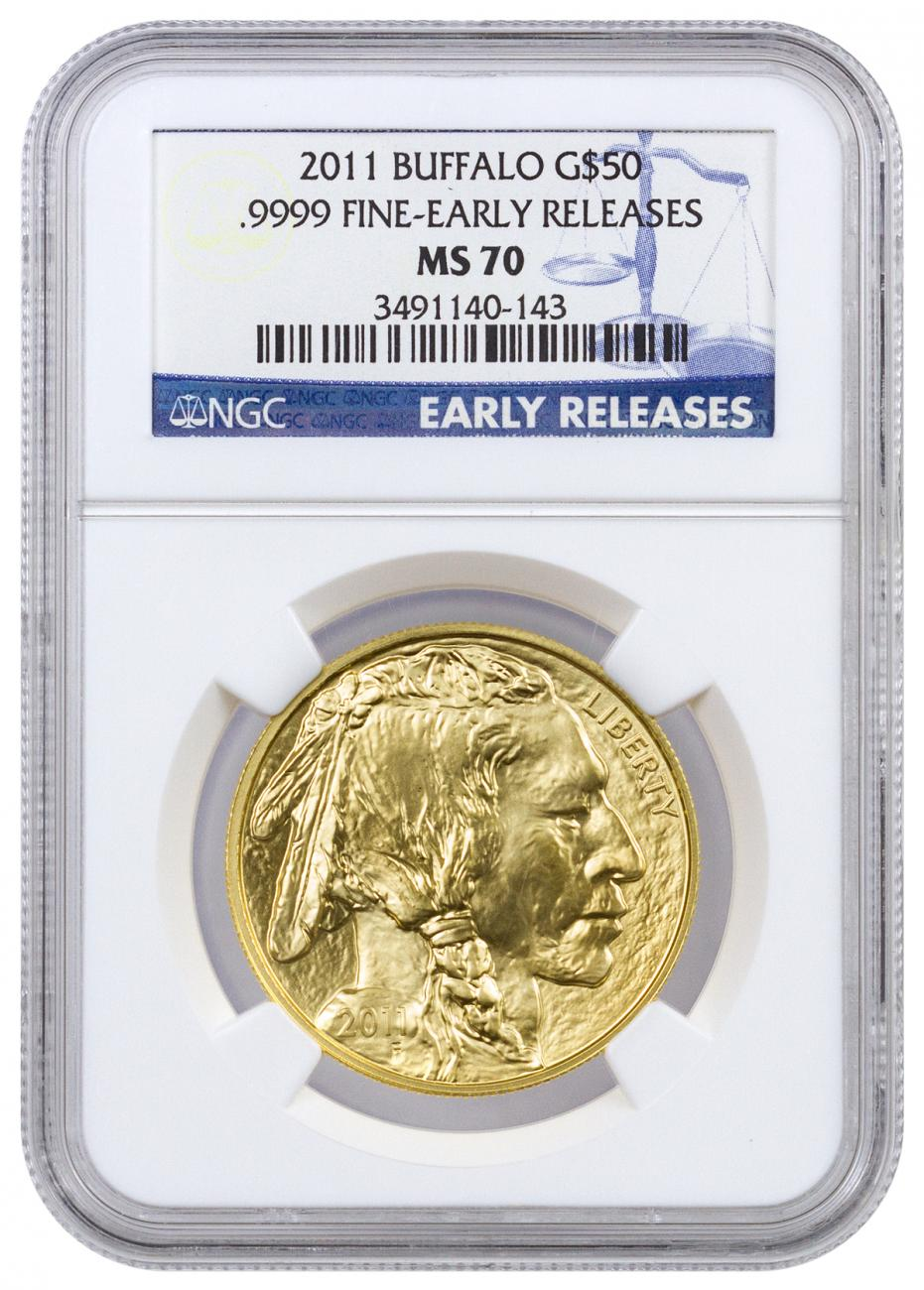 2011 1 oz Gold Buffalo $50 Coin NGC MS70 ER