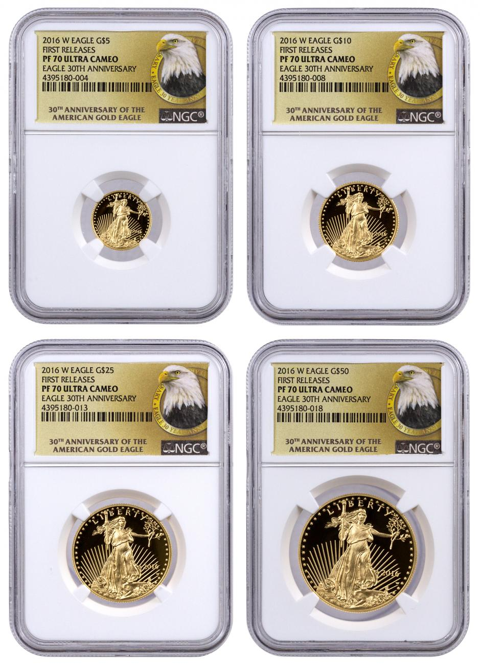 2016-W Gold American Eagle Proof 4-Coin Set NGC PF70 UC FR (30th Anniversary Label)
