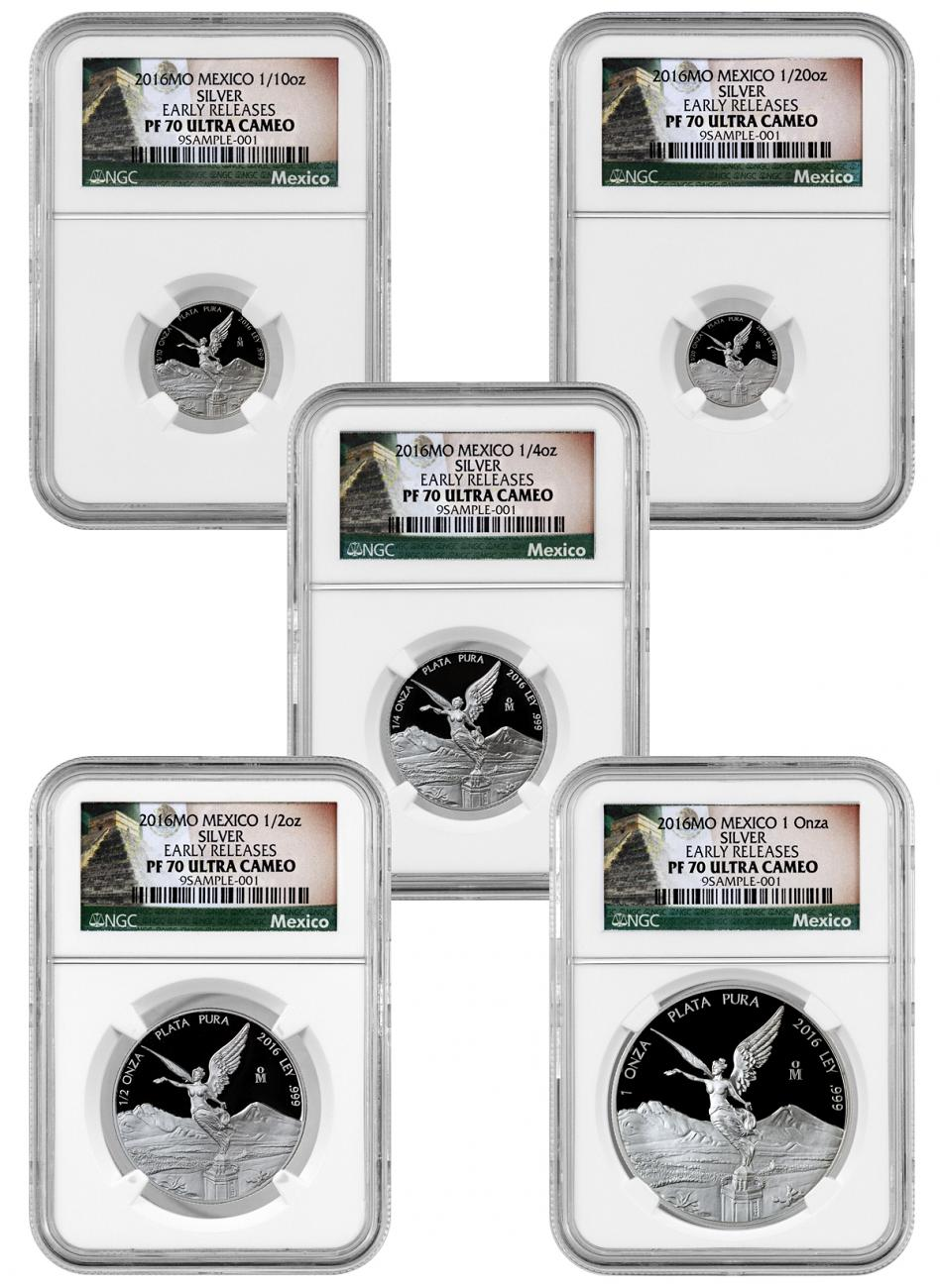 2016-Mo Mexico Proof Silver Libertad Onza - Set of 5 Coins - NGC PF70 UC Early Releases (Mexico Label)