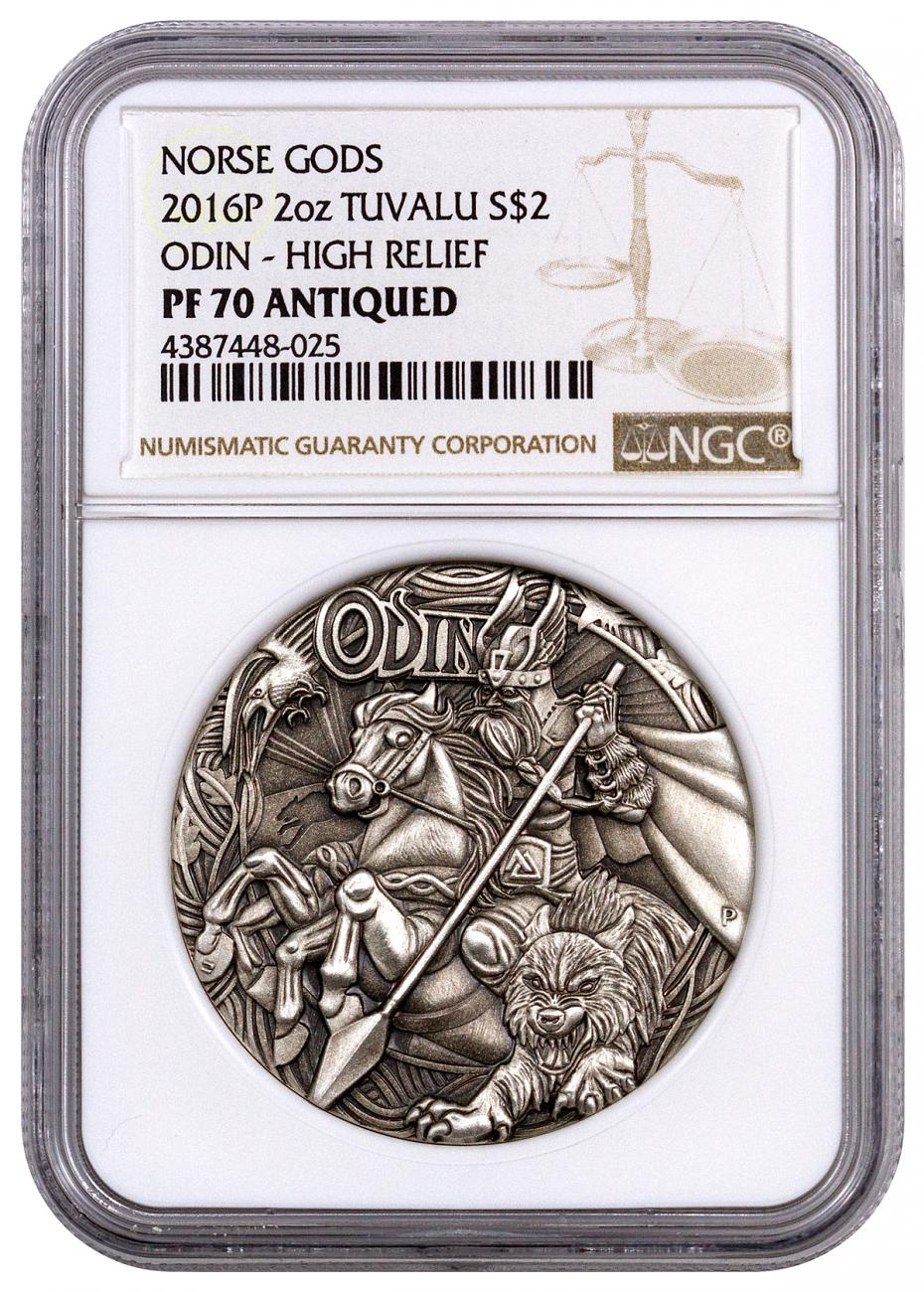 2016-P Tuvalu $2 2 oz. Antiqued High Relief Proof Silver Norse Gods - Odin - NGC PF70 UC