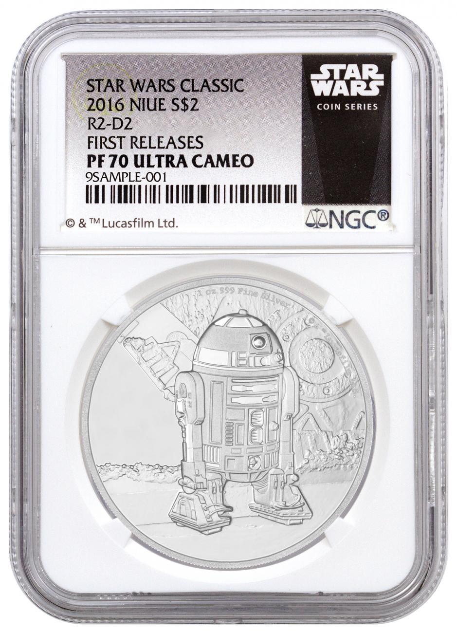 2016 Niue $2 1 oz. Proof Silver Star Wars Classics Series - R2-D2 - NGC PF70 UC First Releases (Exclusive Star Wars Label)