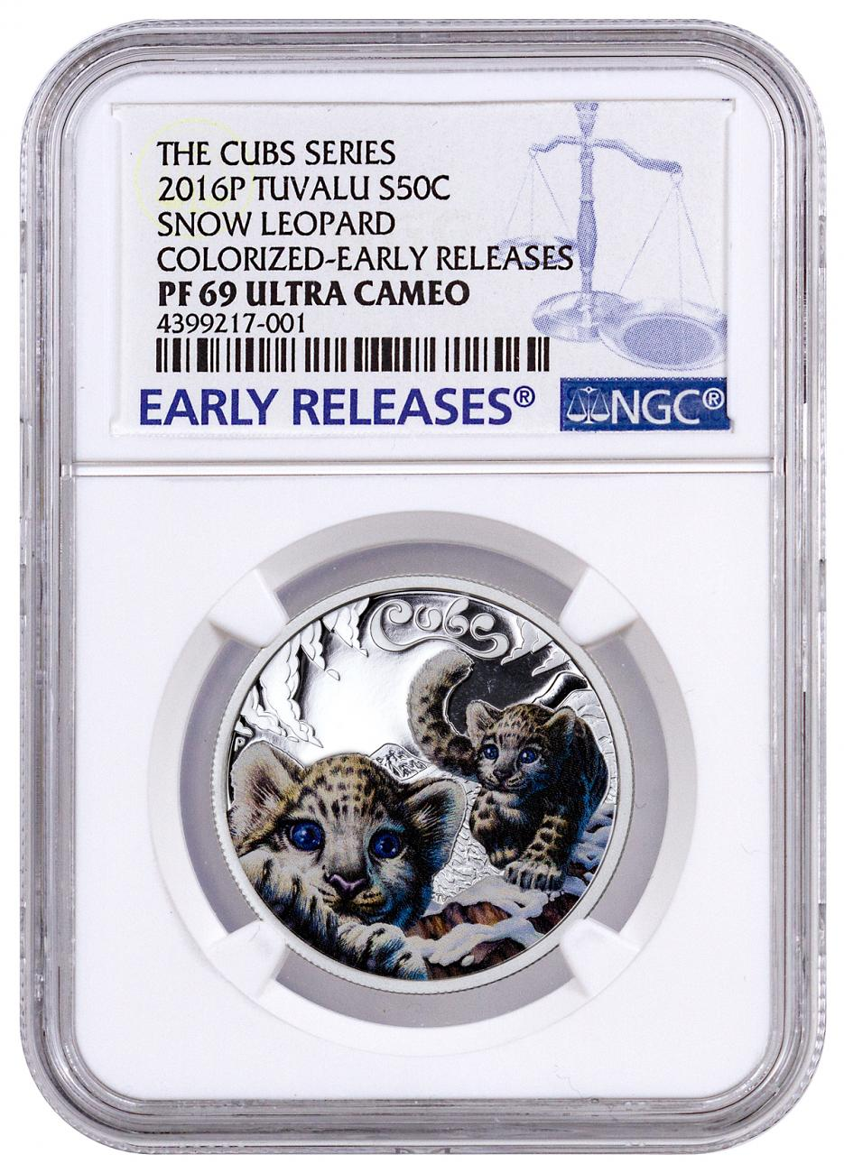 2016-P Tuvalu 50c 1/2 oz. Colorized Proof Silver Cubs - Snow Leopard - NGC PF69 UC Early Releases