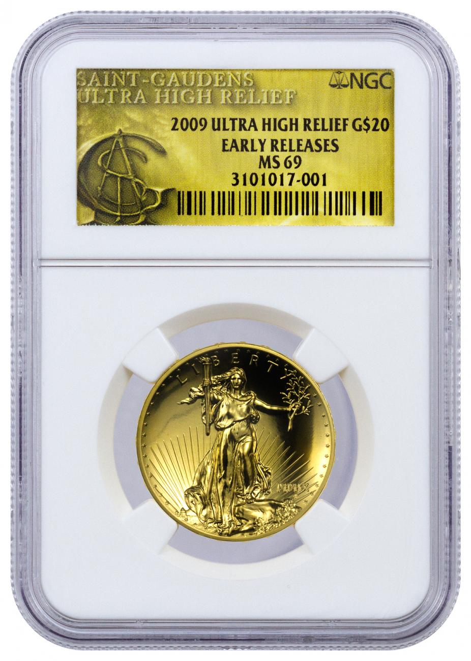 2009 $20 1 oz. Ultra High Relief Gold Double Eagle - NGC MS69 Early Releases
