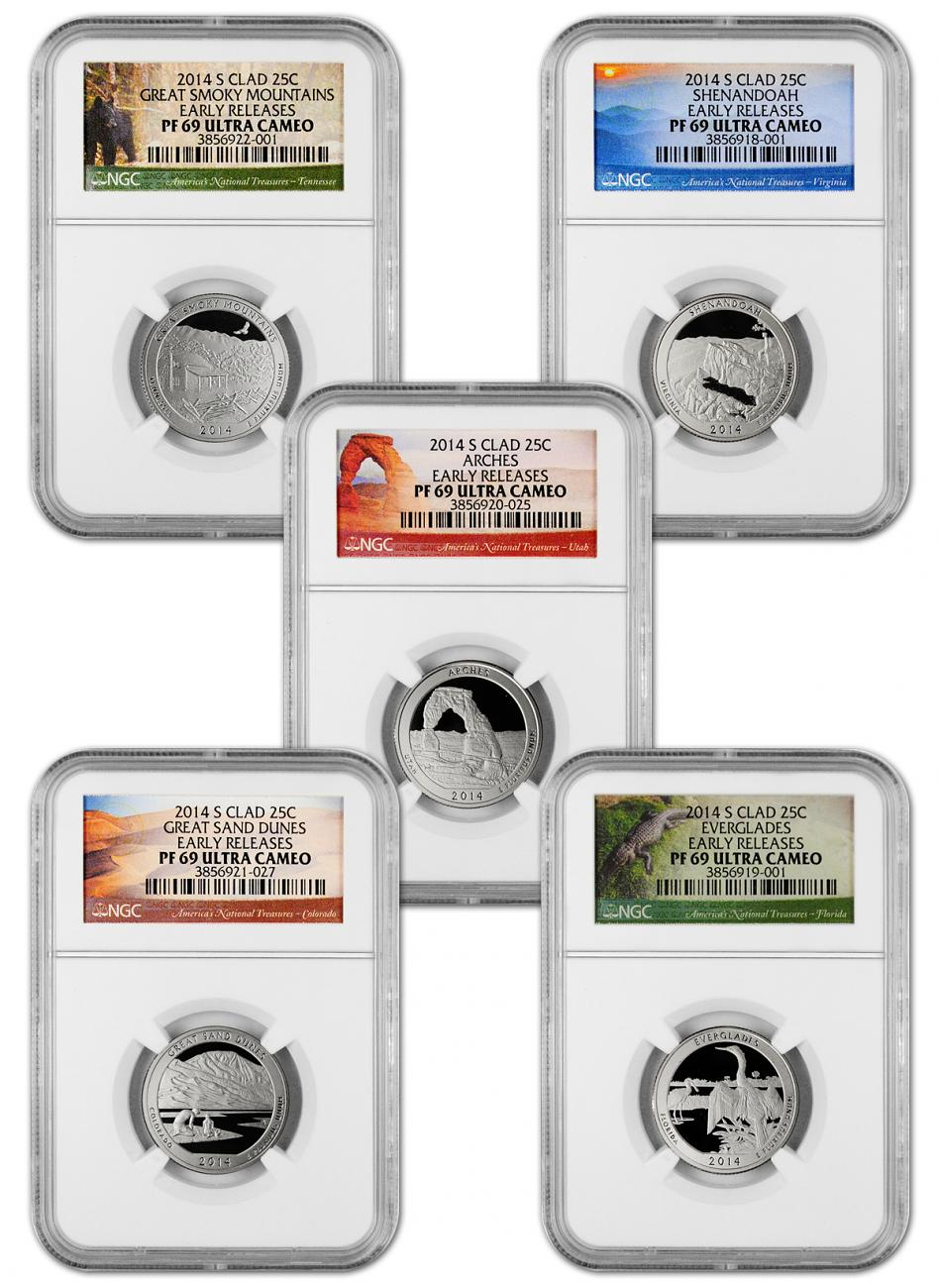 2014-S Clad Proof America the Beautiful Quarters - Set of 5 Coins - NGC PF69 UC Early Releases