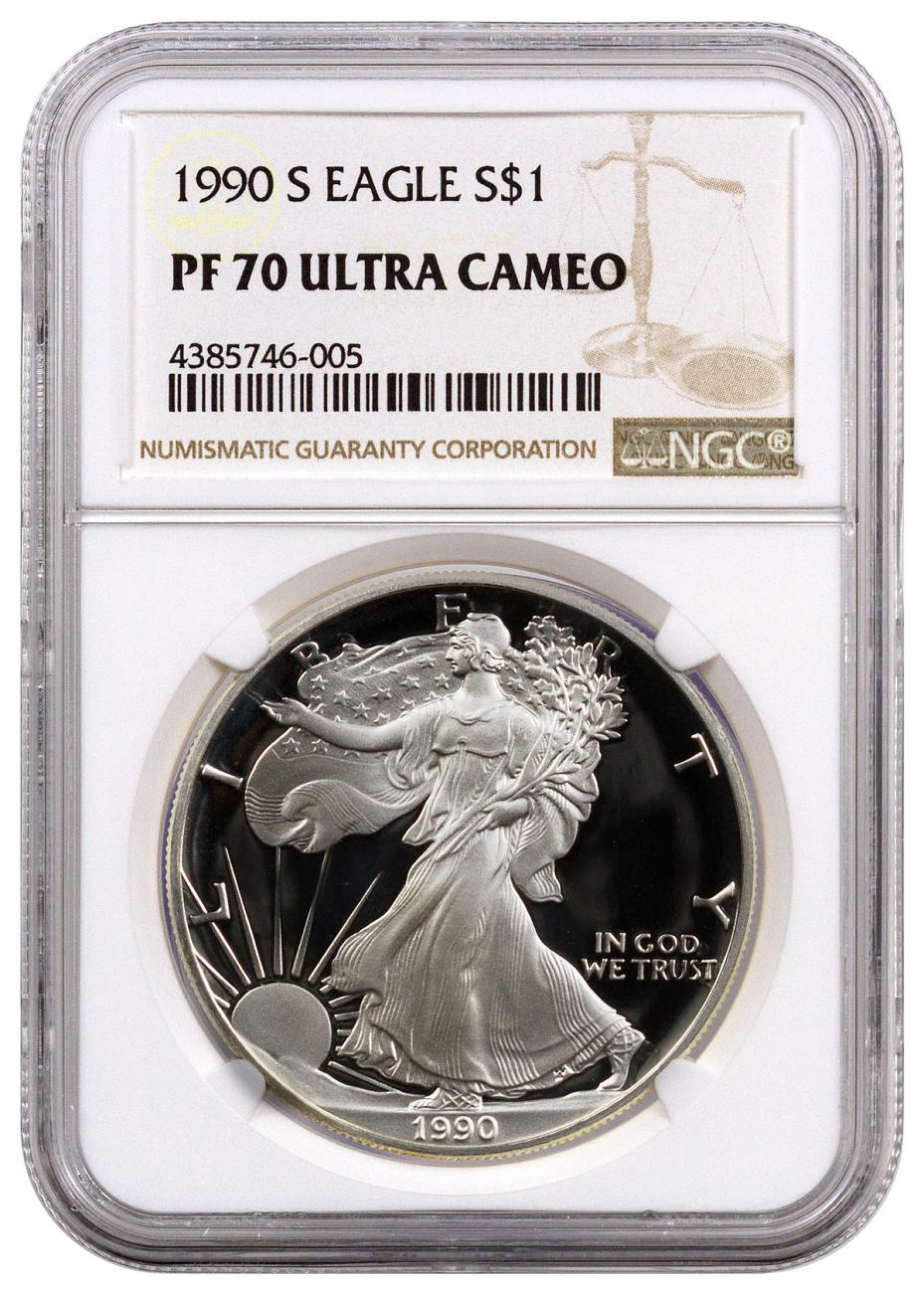 1990-S American Silver Eagle Proof - NGC PF70 UC