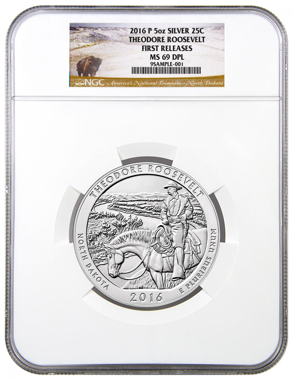 2016 25c 5 oz. Silver America the Beautiful - Theodore Roosevelt - NGC MS69 DPL First Releases