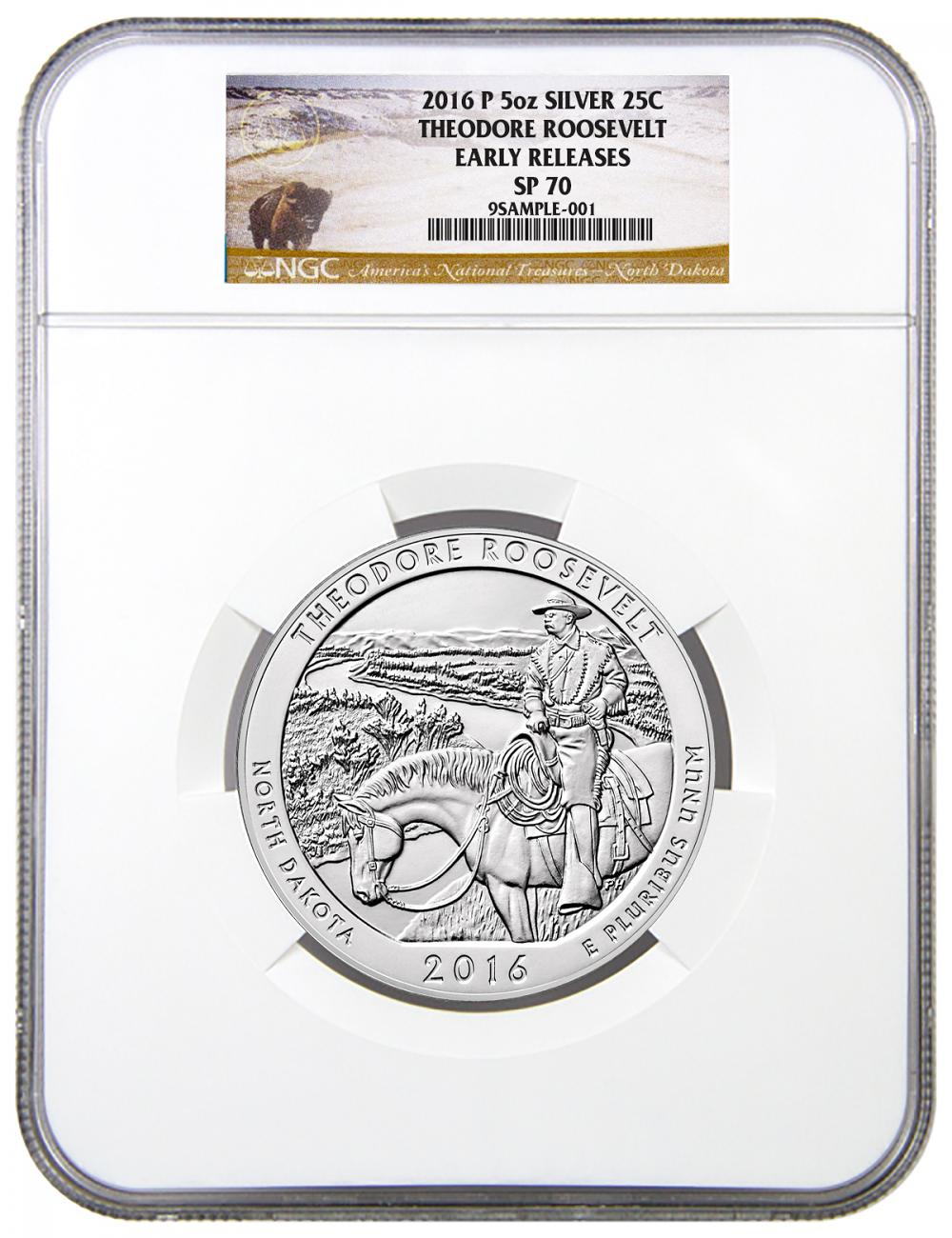 2016-P 25c 5 oz. Specimen Silver America the Beautiful - Theodore Roosevelt - NGC SP70 Early Releases