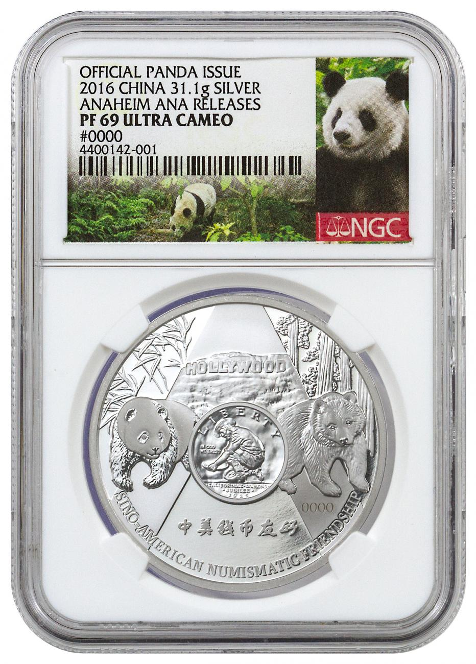 2016 China Anaheim ANA World's Fair of Money Silver Panda 1 oz Silver Proof Medal NGC PF69 UC (Panda Label)
