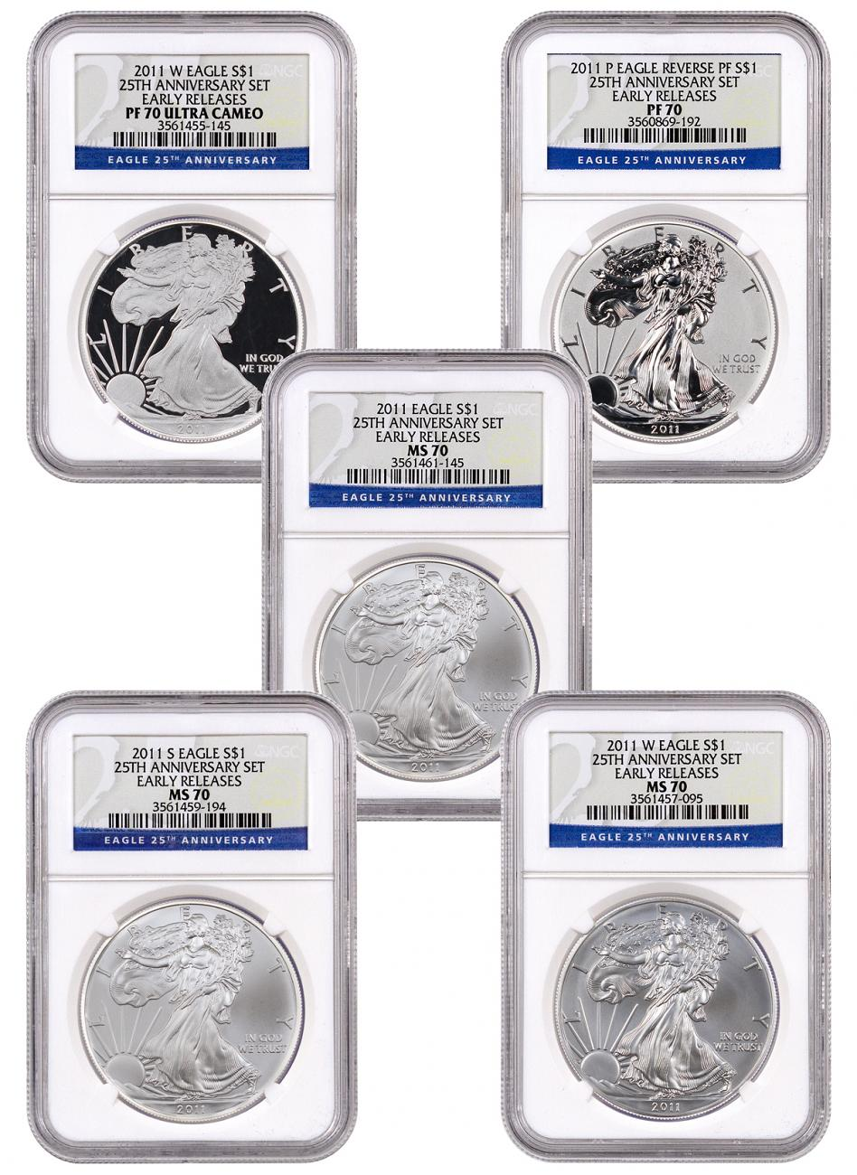 5-Coin Set - 2011 Silver Eagle 25th Anniversary Set NGC PF70 + MS70 ER