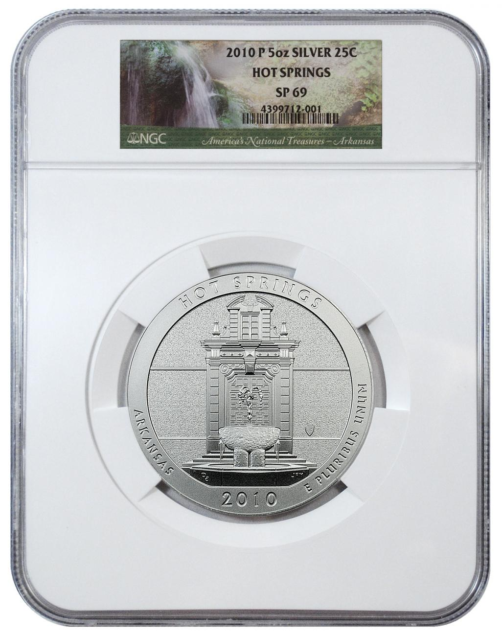 2010-P Hot Springs 5 oz. Silver America the Beautiful Specimen Coin NGC SP69