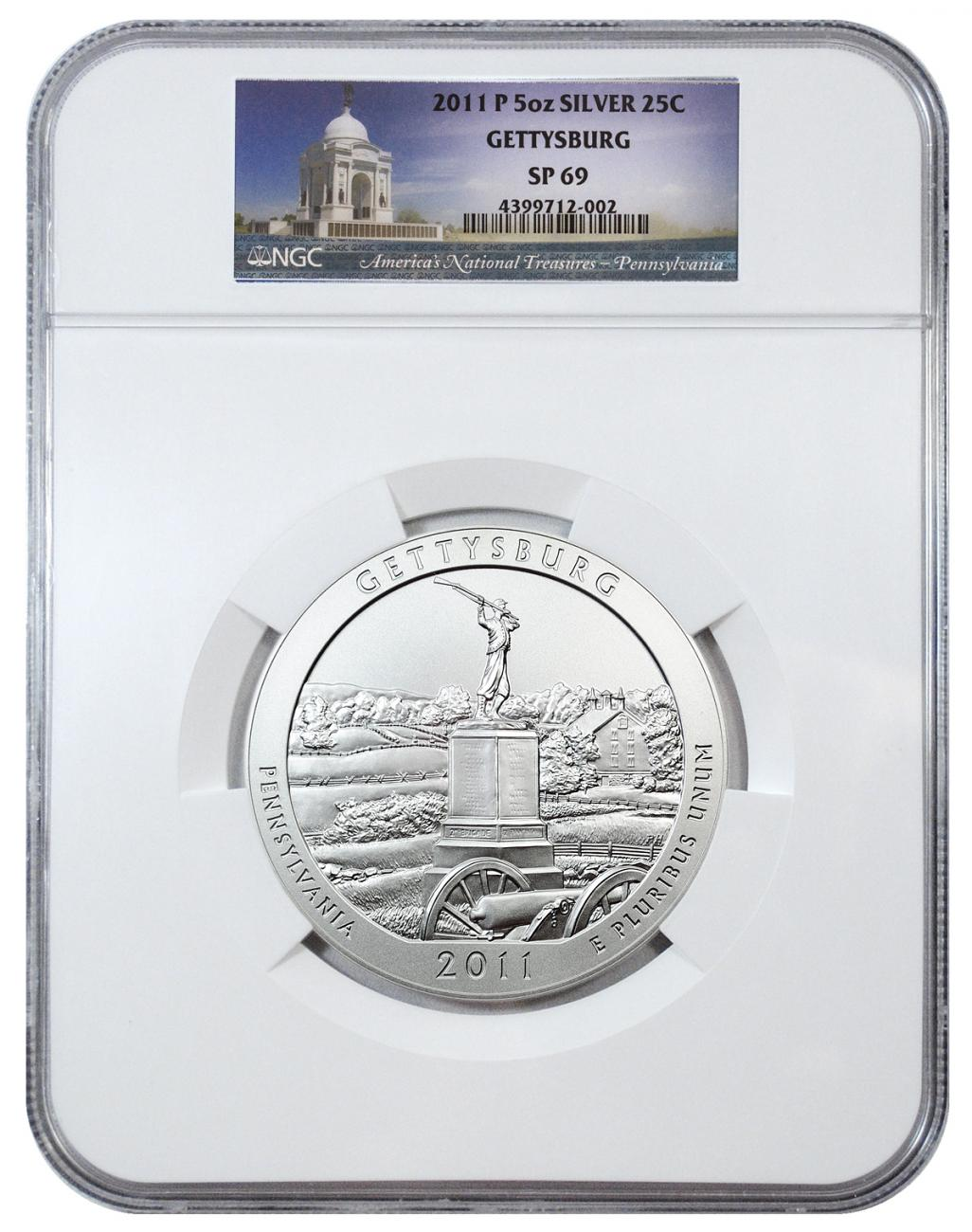 2011-P Gettysburg 5 oz. Silver America the Beautiful Specimen Coin NGC SP69