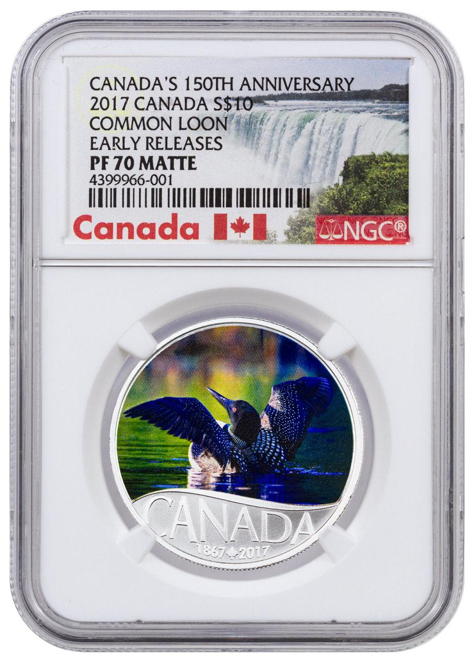 2017 Canada $10 1/2 oz. Colorized Matte Proof Silver Celebrating Canada's 150th - Common Loon - NGC PF70 Early Release (Exclusive Canada Label)