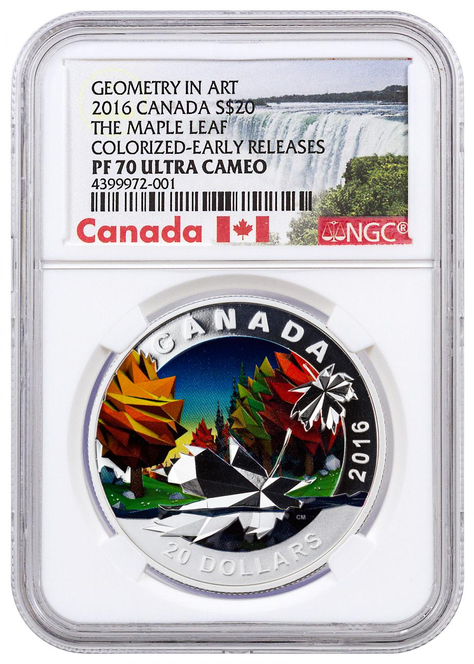 2016 Canada $20 1 oz. Colorized Proof Silver Geometry in Art - Maple Leaf - NGC PF70 UC Early Releases (Exclusive Canada Label)