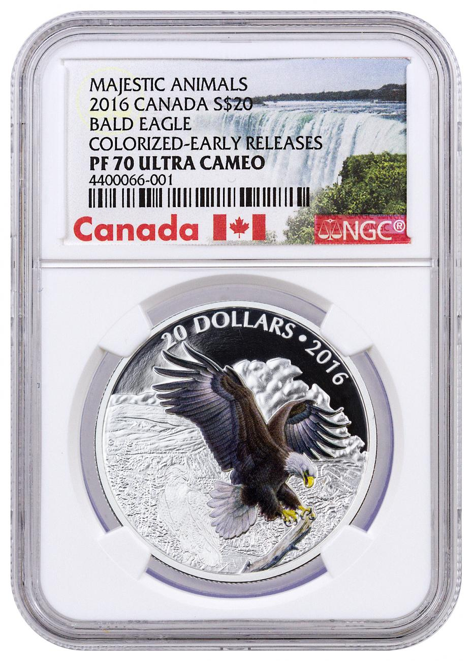 2016 Canada $20 1 oz. Colorized Proof Silver Majestic Animals - Baronial Bald Eagle - NGC PF70 UC Early Releases (Exclusive Canada Label)