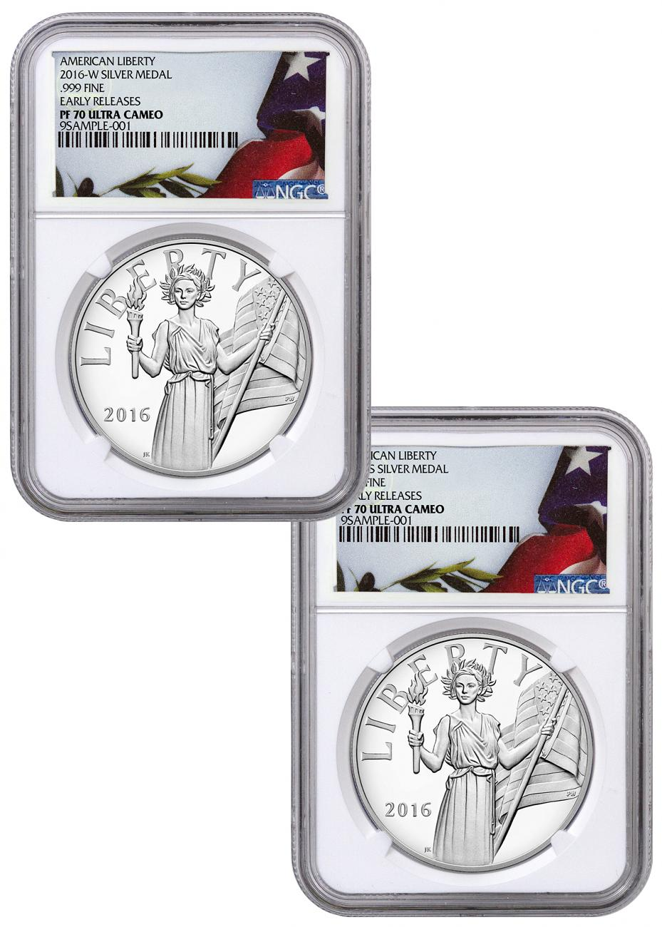 2016-W & S 1 oz. Proof Silver American Liberty Medal - 2 Medal Set - NGC PF70 UC Early Releases (Flag Label)