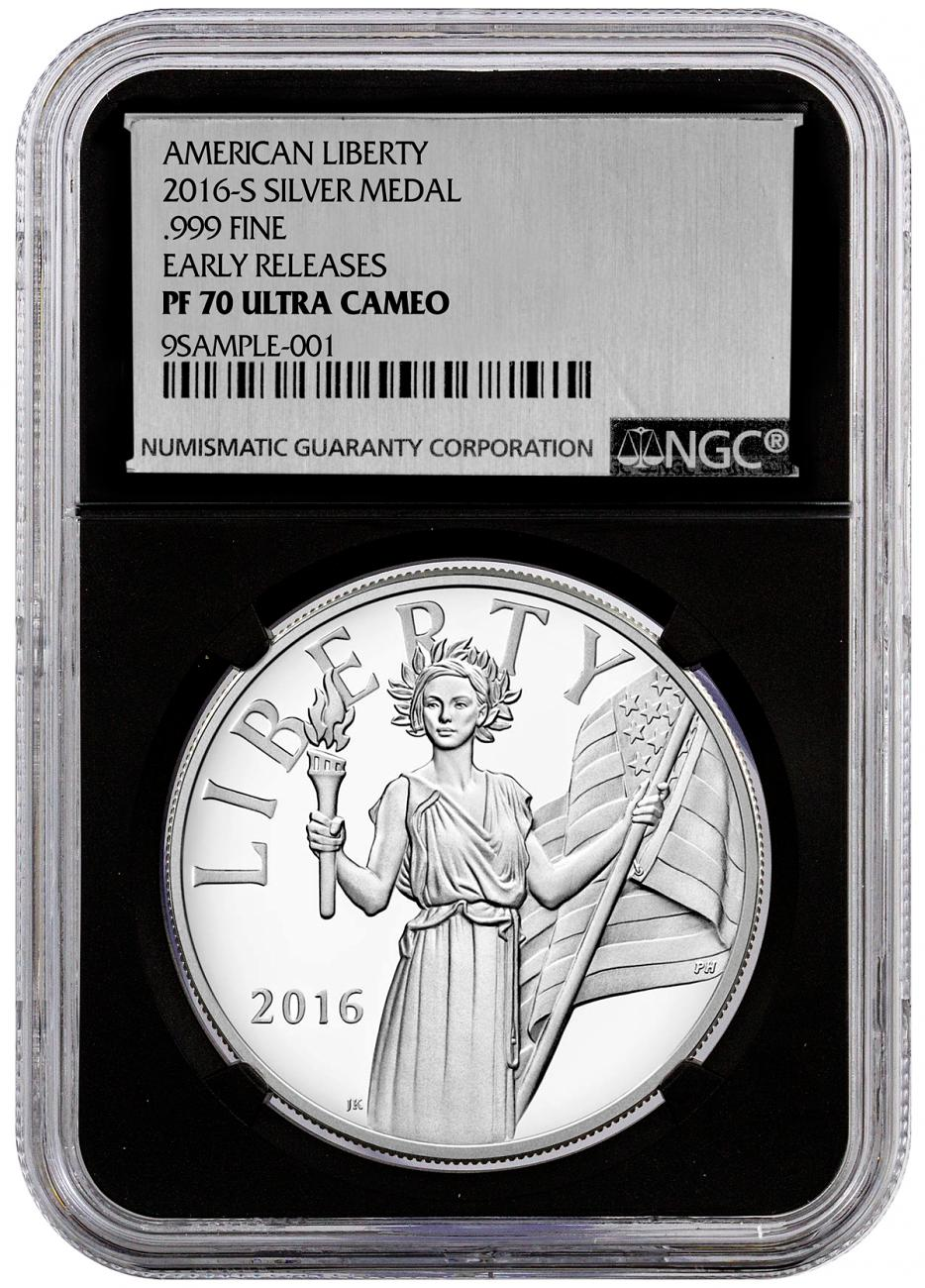 2016-S 1 oz. Proof Silver American Liberty Medal - NGC PF70 UC Early Releases (Silver Foil Label with Black Core)