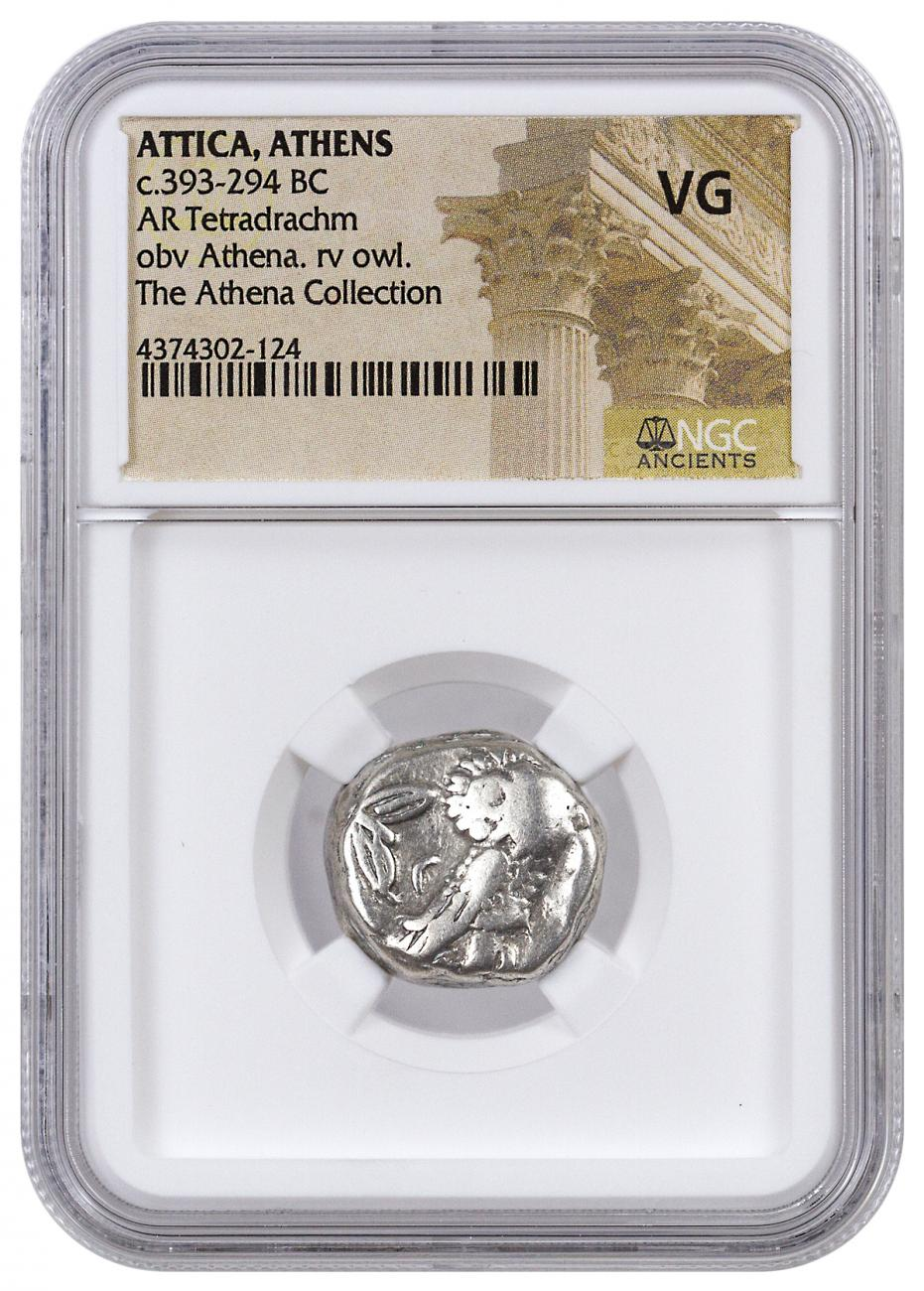 Greek City-State of Athens Silver Tetradrachm - Athena and Owl c. 393-294 BC - NGC VG (Athena Collection)