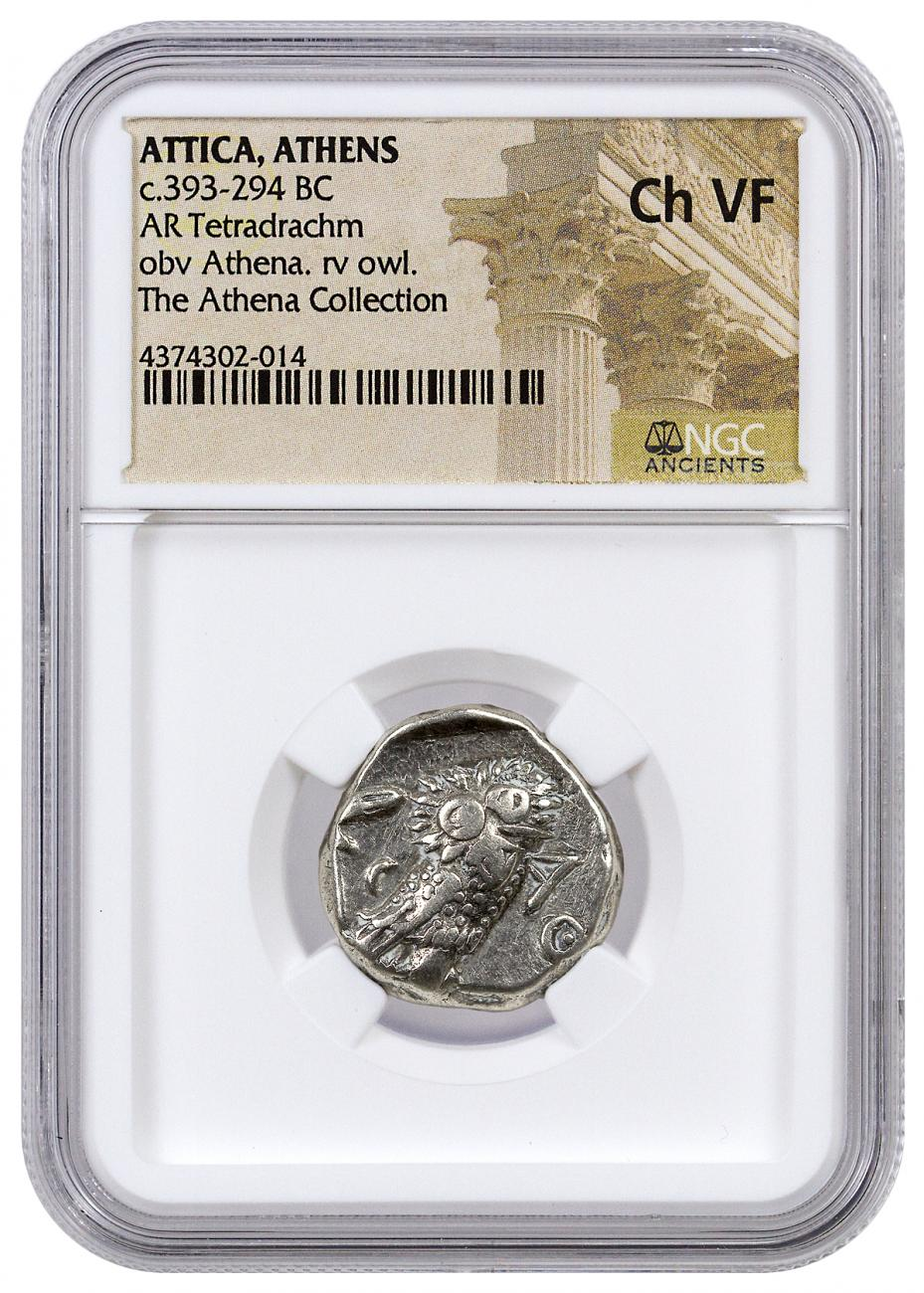 Greek City-State of Athens Silver Tetradrachm - Athena and Owl c. 393-294 BC - NGC Ch VF (Athena Collection)