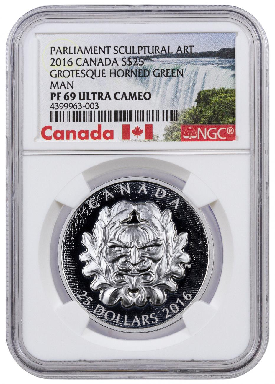 2016 Canada $25 1 oz. Ultra High Relief Proof Silver Sculptural Art of Parliament - Grotesque Horned Green Man - NGC PF69 UC (Exclusive Canada Label)
