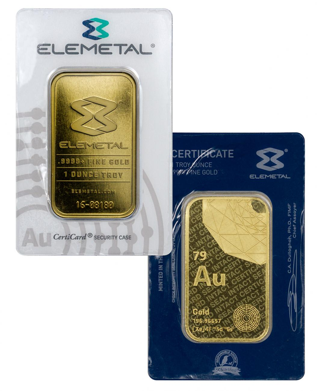 Elemetal Mint Logo 1 oz Gold Bar