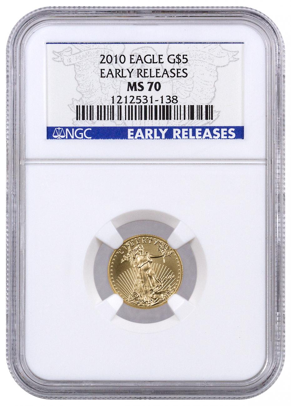 2010 $5 1/10 oz. American Gold Eagle - NGC MS70 Early Releases
