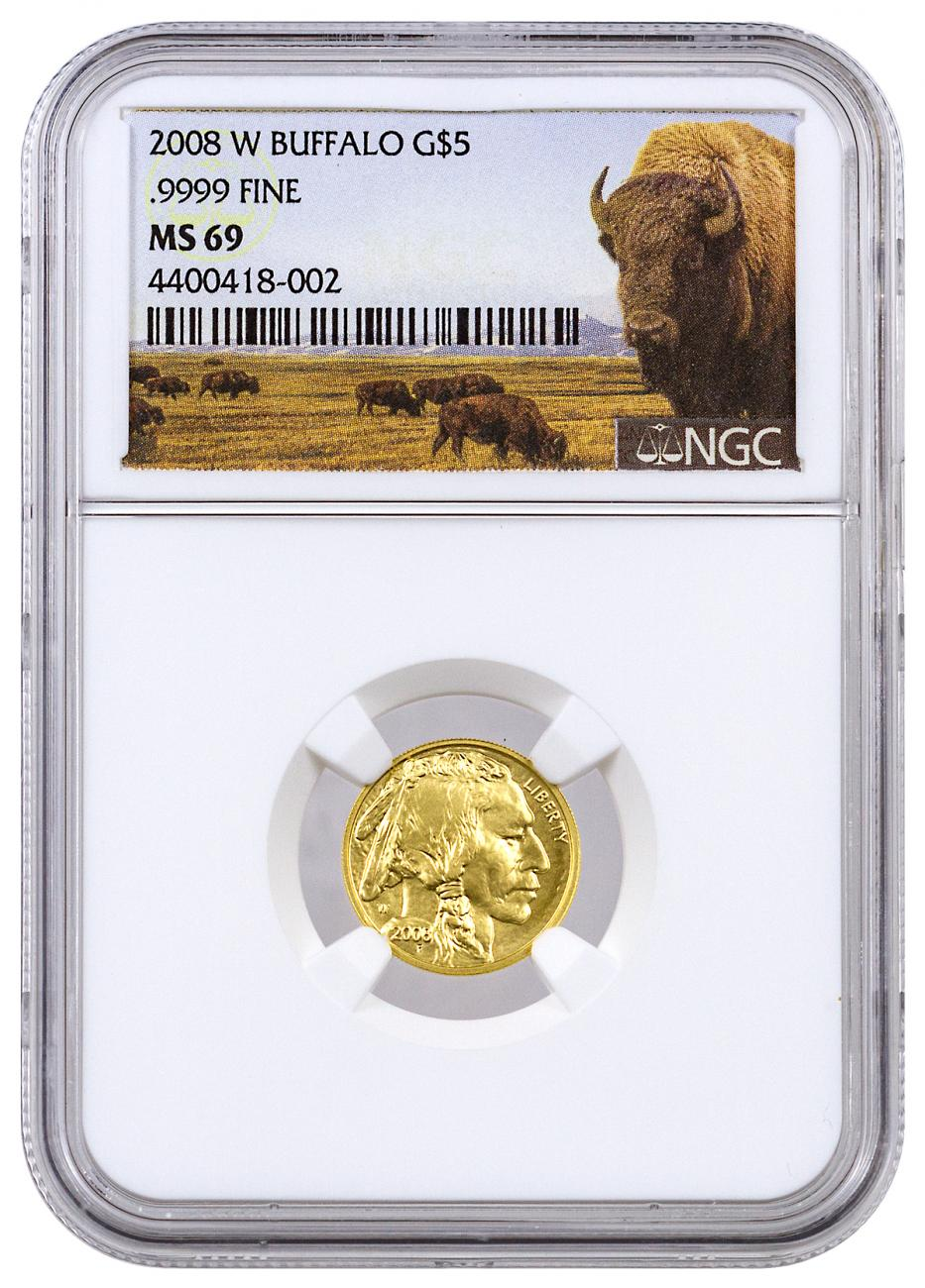 2008-W 1/10 oz Burnished Gold Buffalo $5 NGC MS69 (Buffalo Label)
