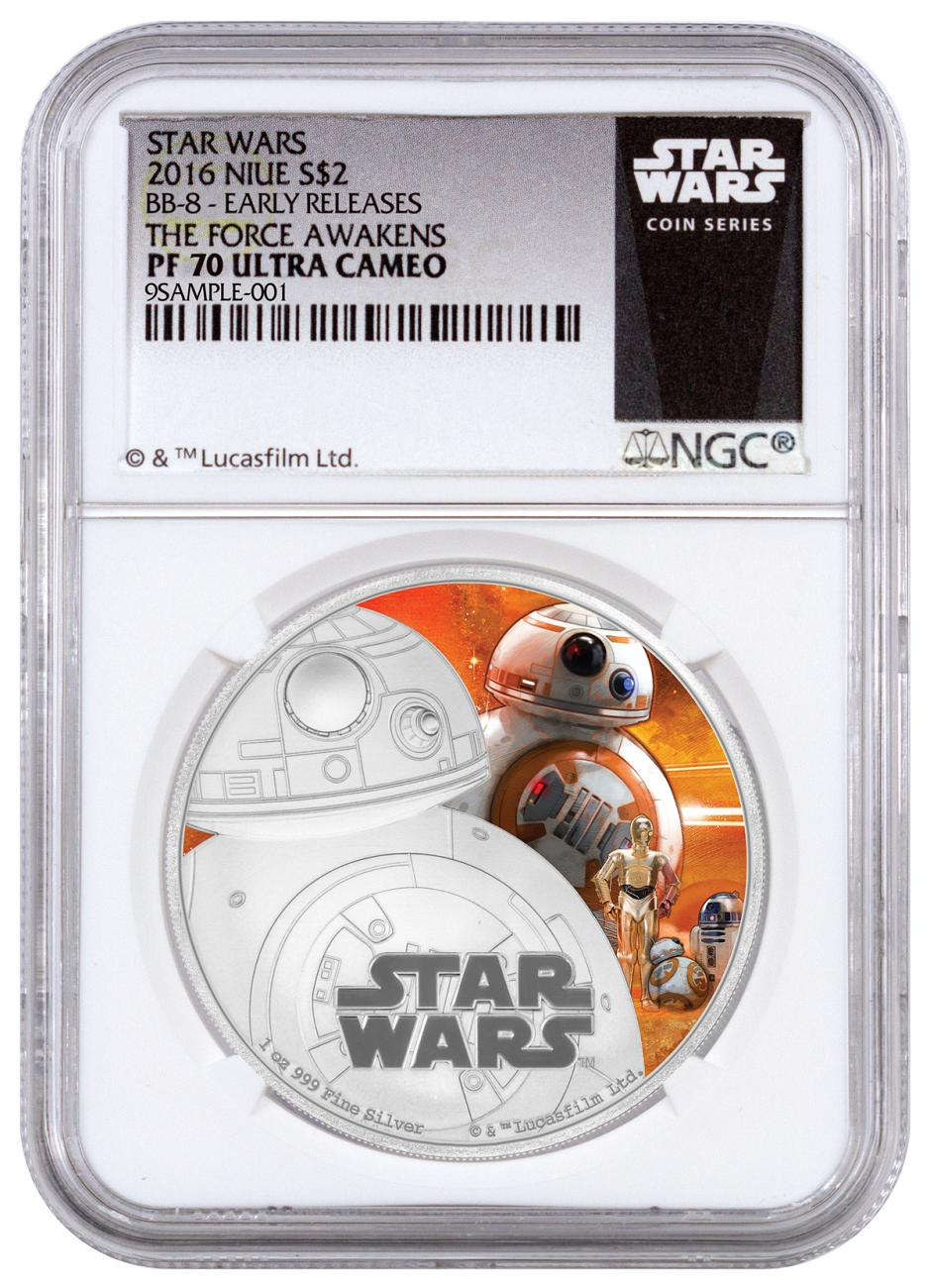 2016 Niue $2 1 oz. Colorized Proof Silver Star Wars: The Force Awakens - BB-8 - NGC PF70 UC Early Releases (Exclusive Star Wars Label)