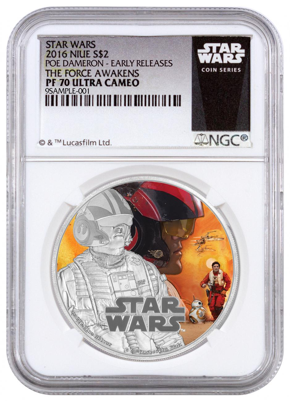 2016 Niue $2 1 oz. Colorized Proof Silver Star Wars: The Force Awakens - Poe - NGC PF70 UC Early Releases (Exclusive Star Wars Label)