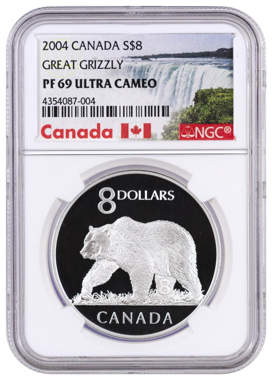 2004 Canada $8 Proof Silver Great Grizzly - NGC PF69 UC