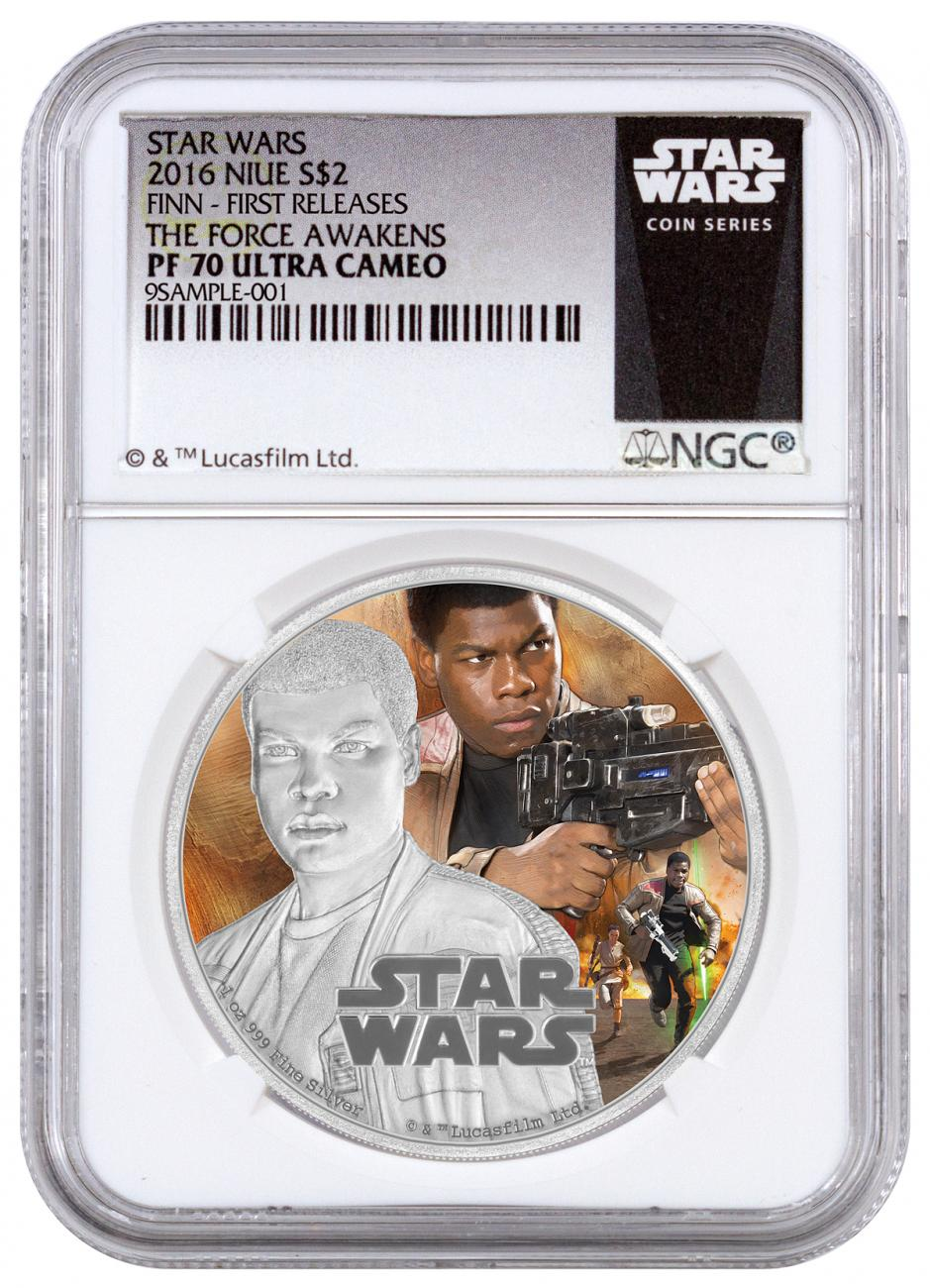 2016 Niue $2 1 oz. Colorized Proof Silver Star Wars: The Force Awakens - Finn - NGC PF70 UC First Releases (Exclusive Star Wars Label)
