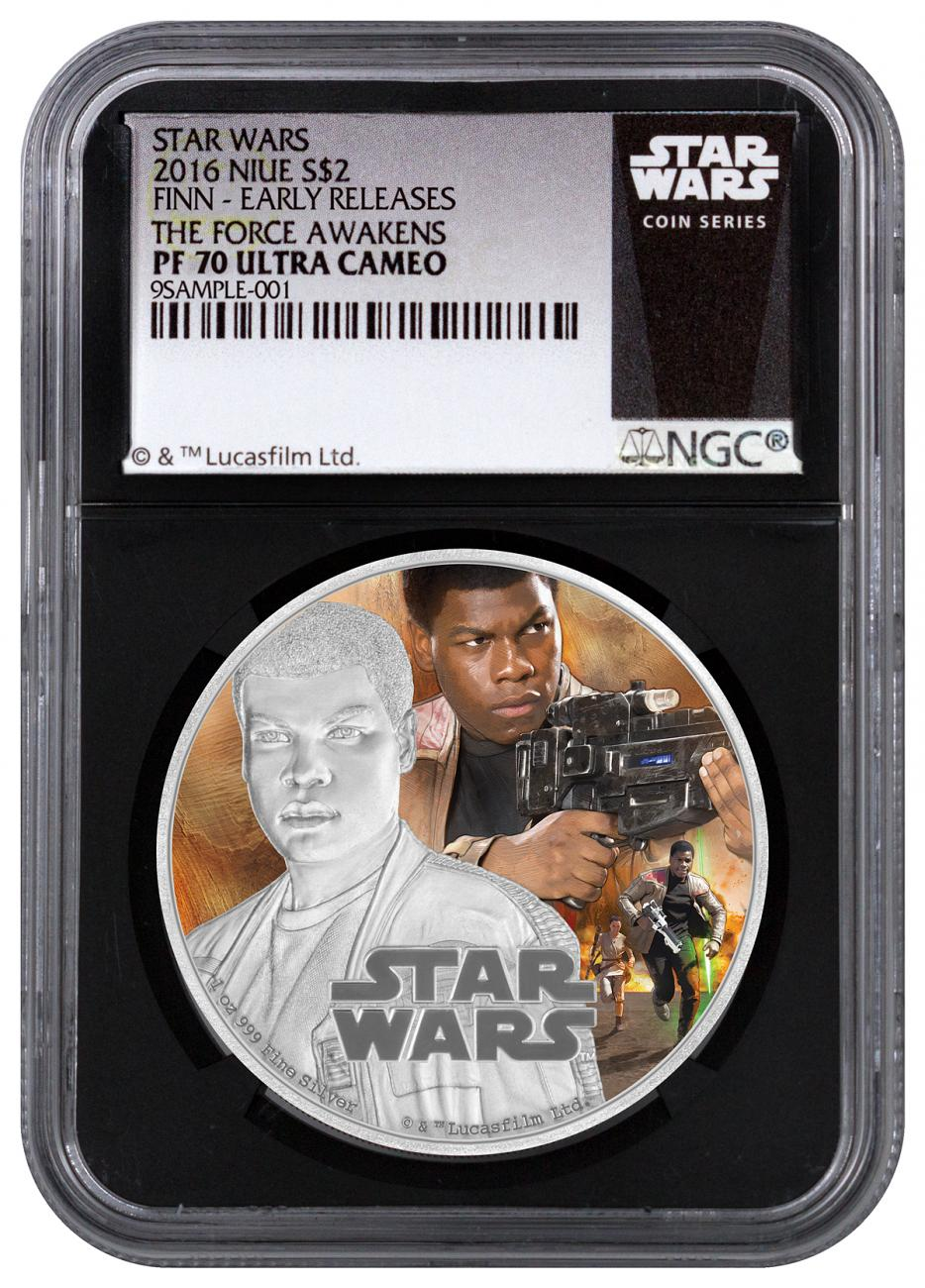 2016 Niue $2 1 oz. Colorized Proof Silver Star Wars: The Force Awakens - Finn - NGC PF70 UC Early Releases (Exclusive Star Wars Label with Black Core)