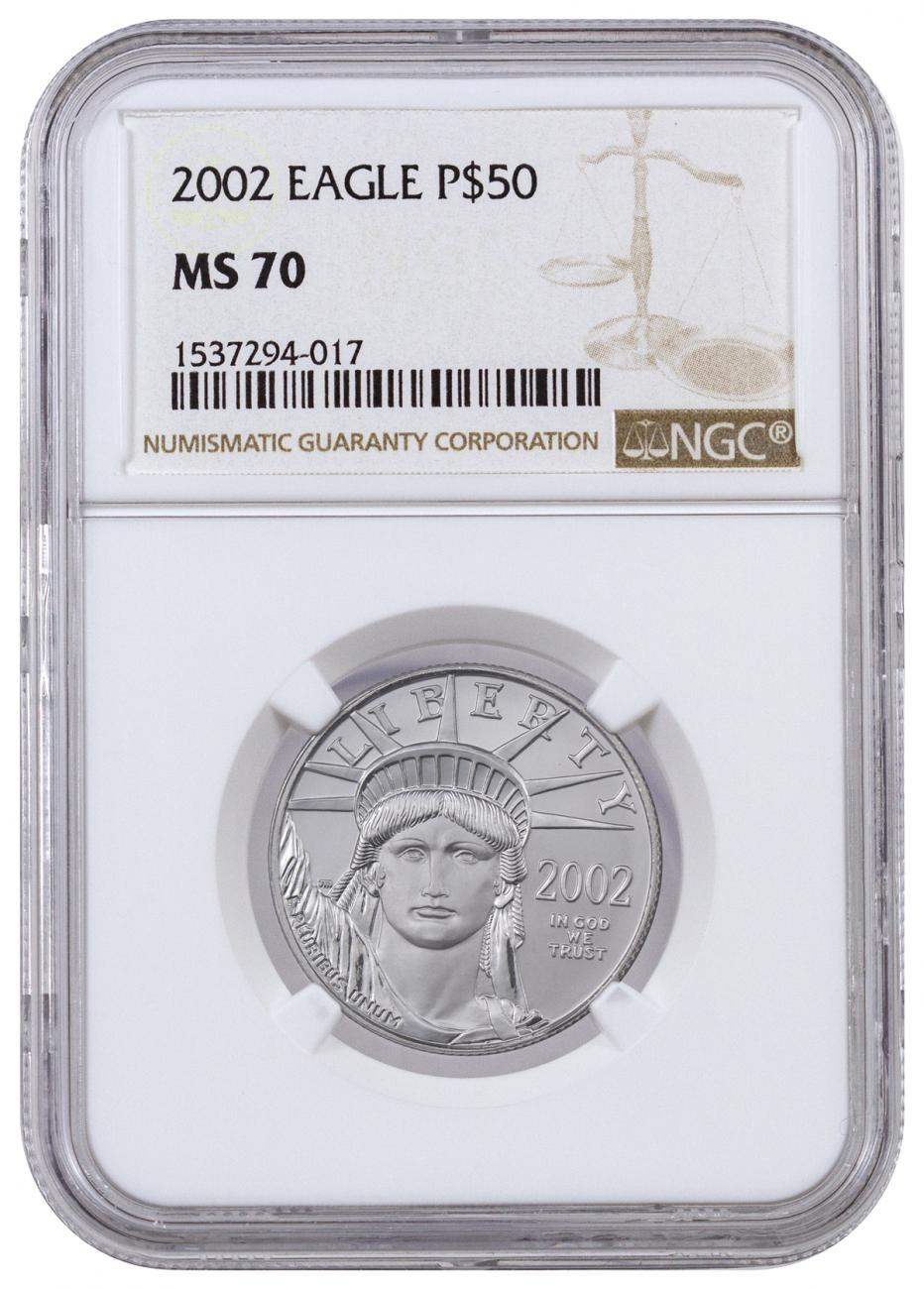 2002 1/2 oz Platinum American Eagle $50 NGC MS70